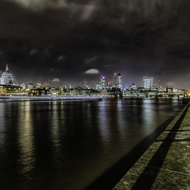 """""""Thames Nightscape"""" stock image"""