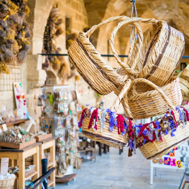 """Straw basket souvenirs at Buyuk Han (The Great Inn)."" stock image"