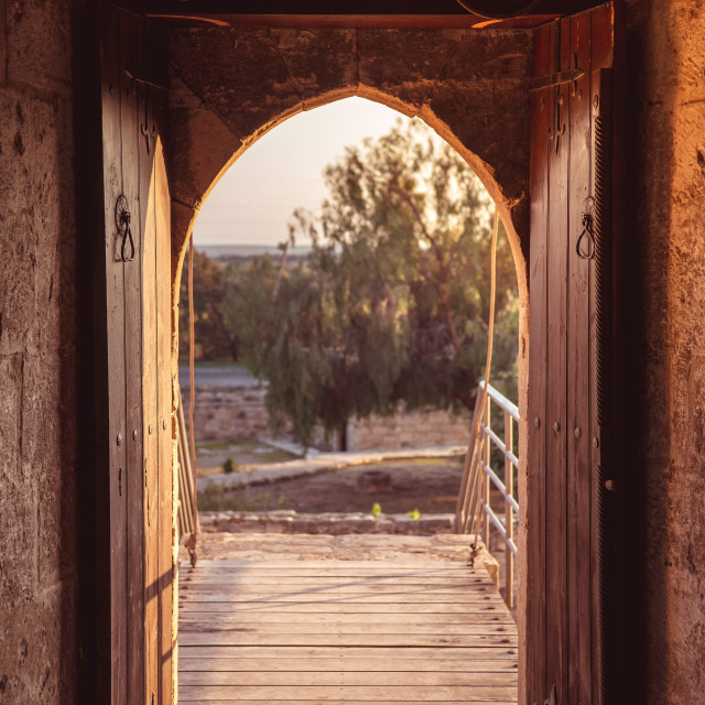 """""""Open gate at medieval Kolossi castle. Limassol, Cyprus"""" stock image"""