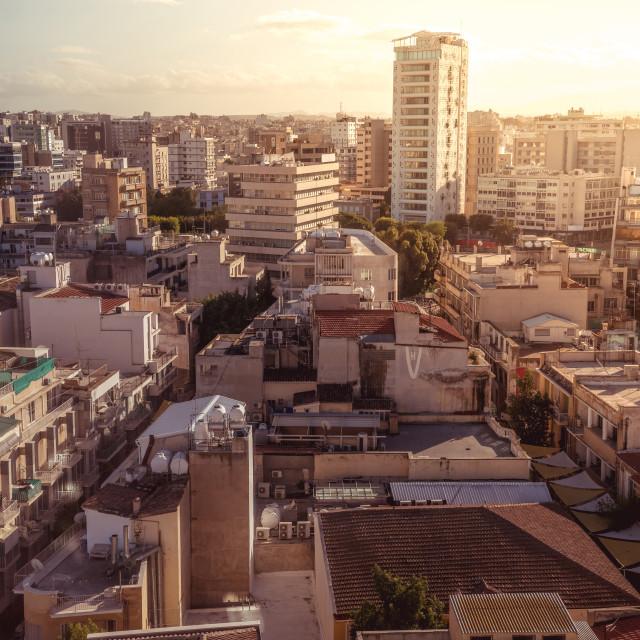 """""""Panorama view of southern part of Nicosia, Cyprus"""" stock image"""