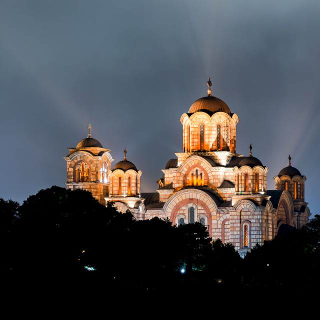 """Church of St. Marco at night. Belgrade, Serbia"" stock image"