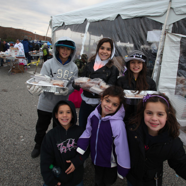 """Young volunteers do Hurricane Sandy"" stock image"