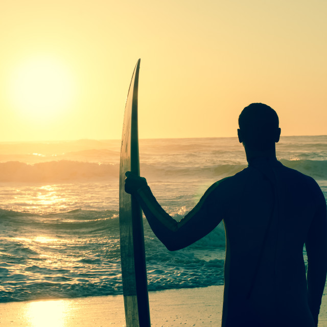 """""""Surfer watching the waves"""" stock image"""