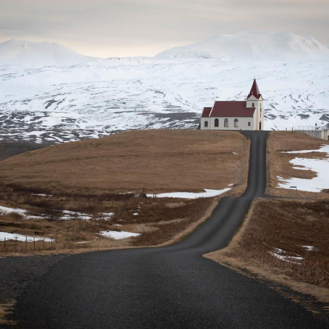 """Ingjaldshóll Church, Iceland"" stock image"