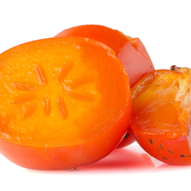 """""""Persimmon with slice"""" stock image"""