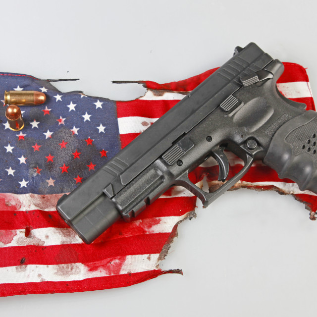 """America under the gun"" stock image"