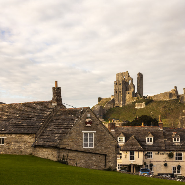 """The village of Corfe"" stock image"