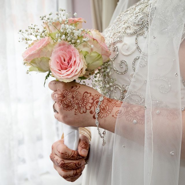 """Holding the rustic bouquet"" stock image"