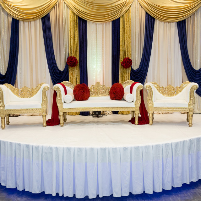 """Red Blue wedding stage"" stock image"