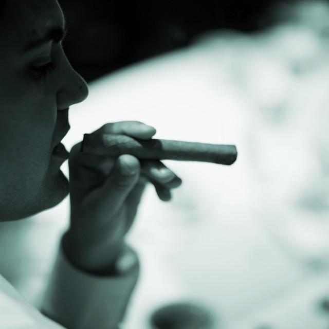 """Wedding reception man smoking cigar"" stock image"