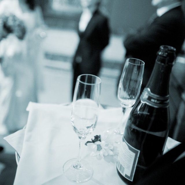 """""""Wedding reception waiter with champagne glasses"""" stock image"""