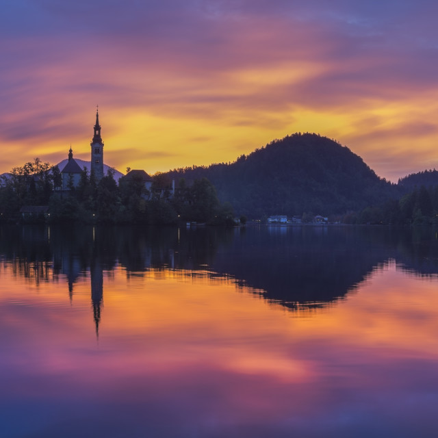 """sunrise over Lake Bled,Slovenia"" stock image"
