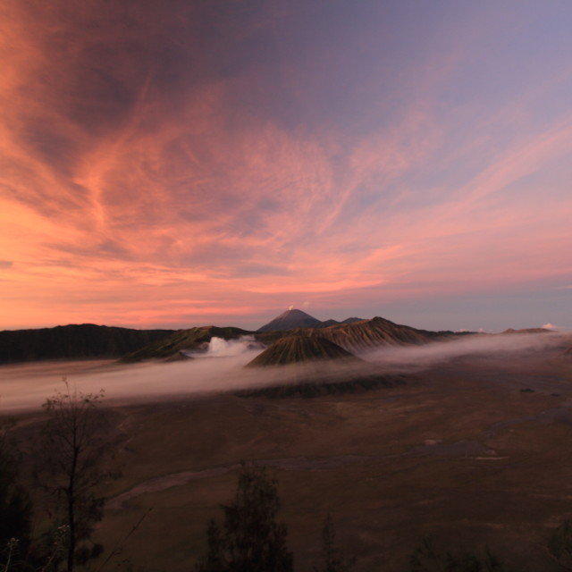 """Mount Bromo against the sunrise sky"" stock image"
