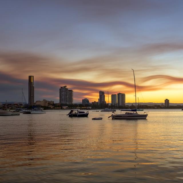 """Sunset Southport Spit Gold Coast"" stock image"