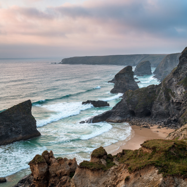 """Bedruthan Steps in Cornwall"" stock image"