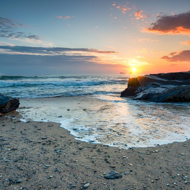 """Sunset on the Cornwall Coast"" stock image"