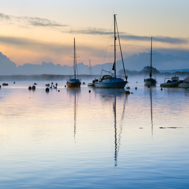 """Misty Dawn at Christchurch Quay"" stock image"