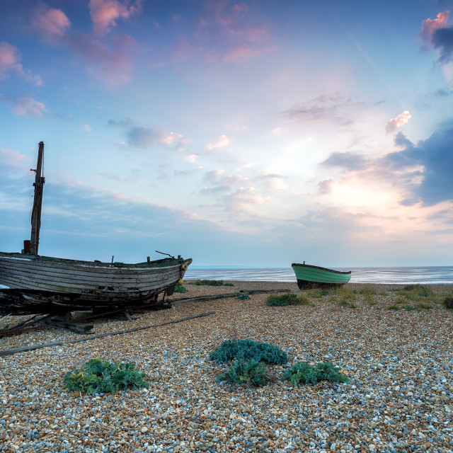 """Fishing Boats on the Beach in Kent"" stock image"