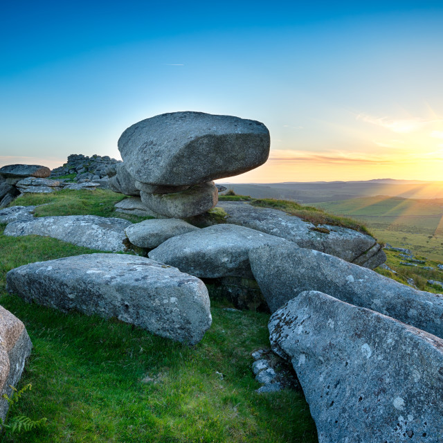 """Sunset on Kilmar Tor"" stock image"
