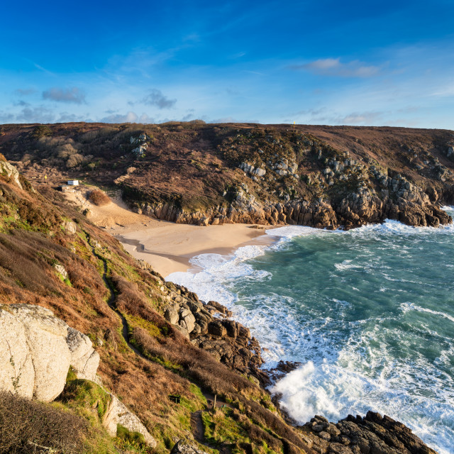 """Porthcurno Beach in Cornwall"" stock image"
