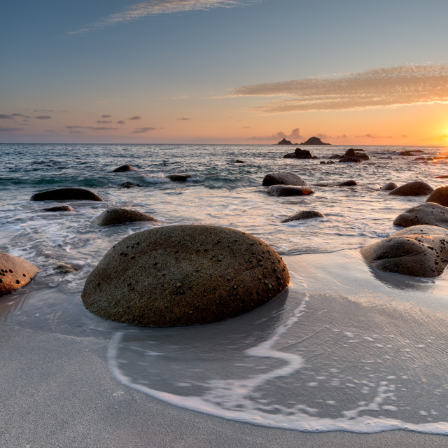 """""""Sunset at Porth Nanven Beach in Cornwall"""" stock image"""