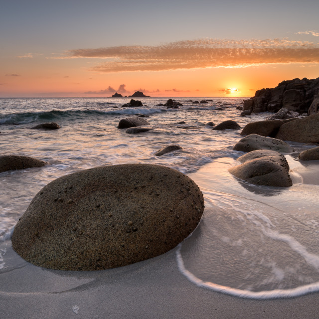 """""""Golden Sunset at Porth Nanven Cove"""" stock image"""
