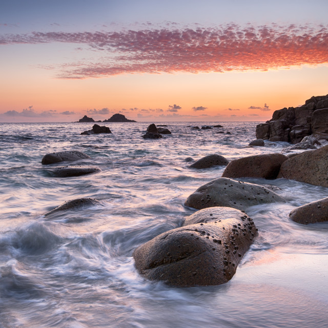 """""""Sunset at Porth Nanven Cove in Cornwall"""" stock image"""