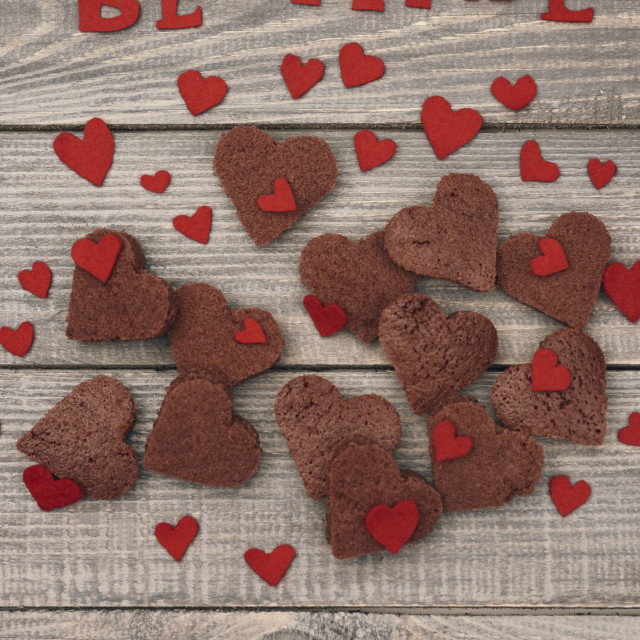 """""""Red writting above the chocolate cookies"""" stock image"""