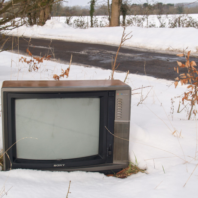 """A Television in the Snow"" stock image"
