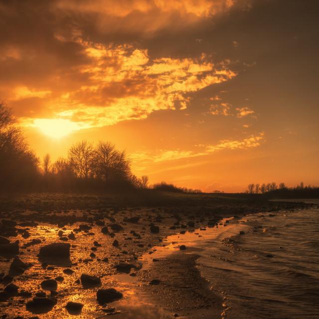 """Sunset at the lake"" stock image"