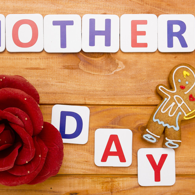 """""""Mothers Day with shaped cookies"""" stock image"""