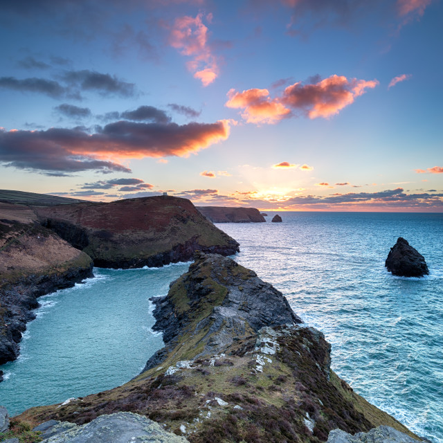 """""""Sunset at Boscastle in Cornwall"""" stock image"""