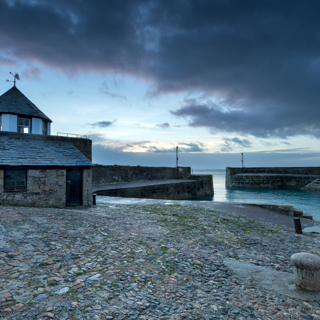 """""""The Harbour at Charlestown in Cornwall"""" stock image"""