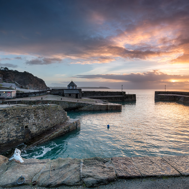 """""""Sunrise at historic Charlestown harbour on the Cornwall coast near St Austell"""" stock image"""