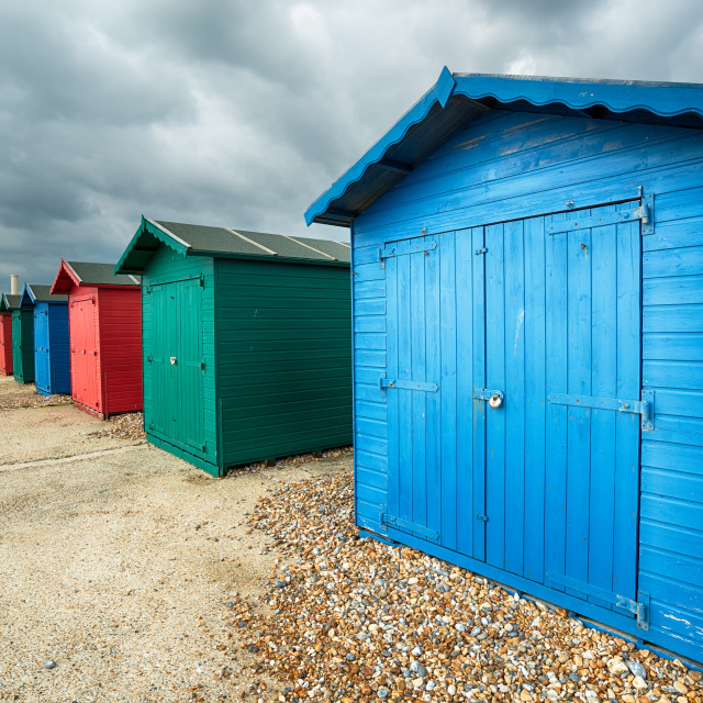 """Beach Huts in Hastings"" stock image"