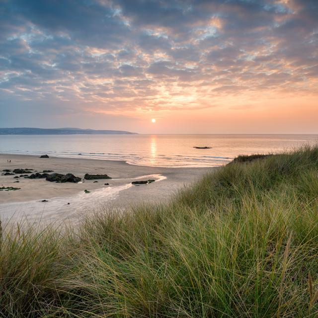 """Sunset over Hayle Beach"" stock image"