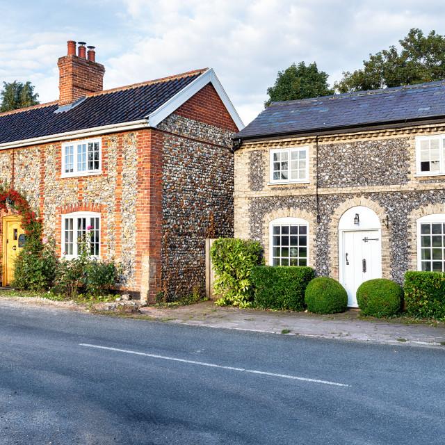 """""""Flint Cottages in Norfolk"""" stock image"""