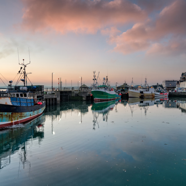"""""""Sunrise at Padstow in Cornwall"""" stock image"""