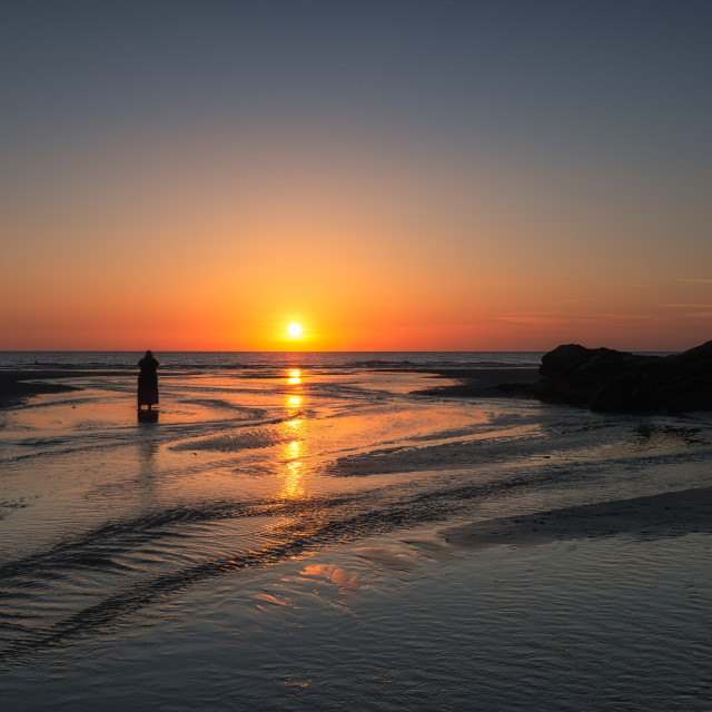 """""""Sunset at Perranporth"""" stock image"""