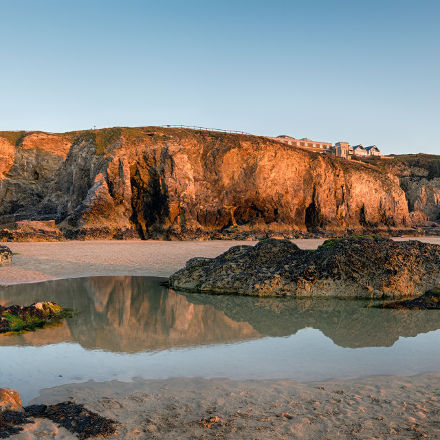 """""""Rock Pools at Perranporth in Cornwall"""" stock image"""