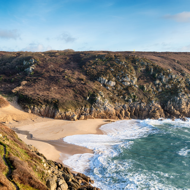 """The Beach at Porthcurno"" stock image"