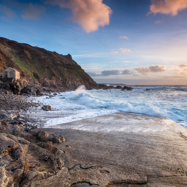 """Stormy Seas at Cape Cornwall"" stock image"