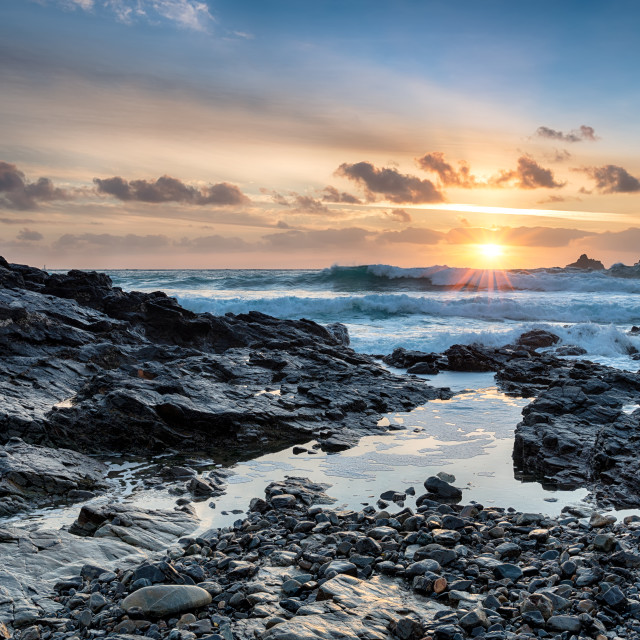 """""""Stormy Ocean at Cape Cornwall"""" stock image"""