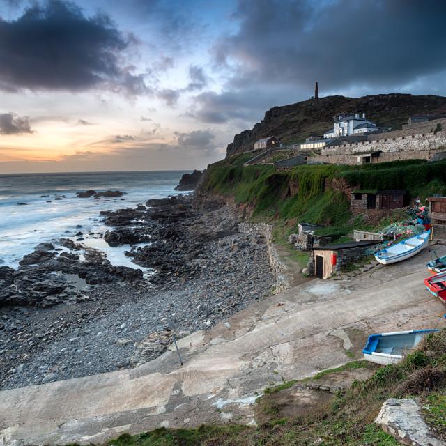"""Dusk over Cape Cornwall"" stock image"