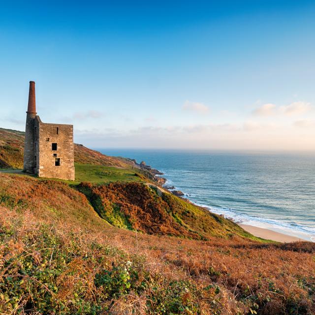 """Wheal Prosper Cornish Engine House"" stock image"