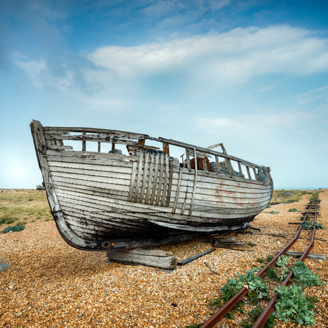 """""""Old Wrecked Boat"""" stock image"""