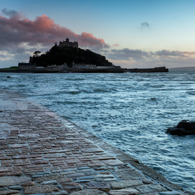 """Panoramic view of the causeway at high tide leading to St Michaels Mount at Marazion near Penzance in Cornwall"" stock image"