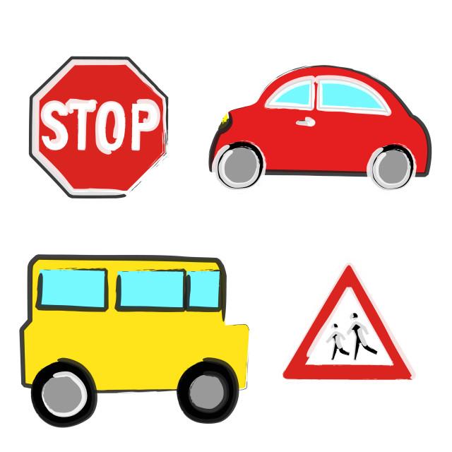 """""""Naive car and bus"""" stock image"""
