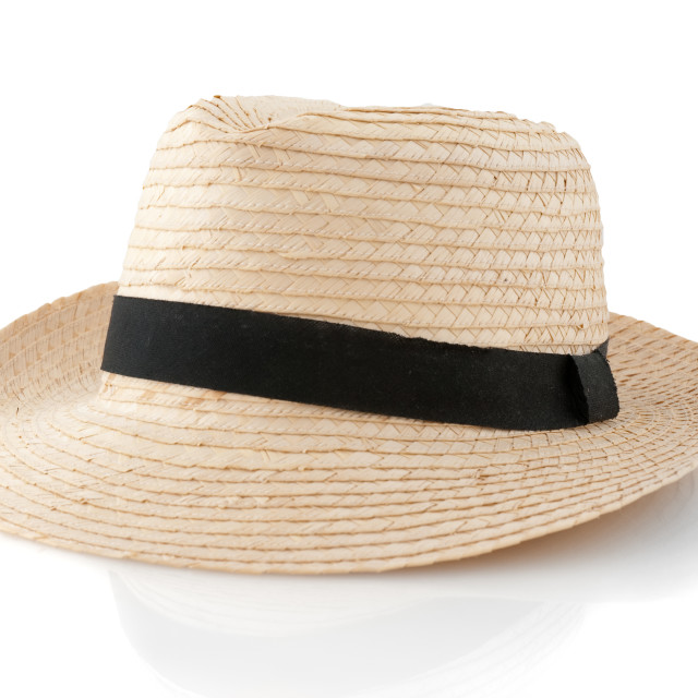 """Straw hat withe black ribbon"" stock image"