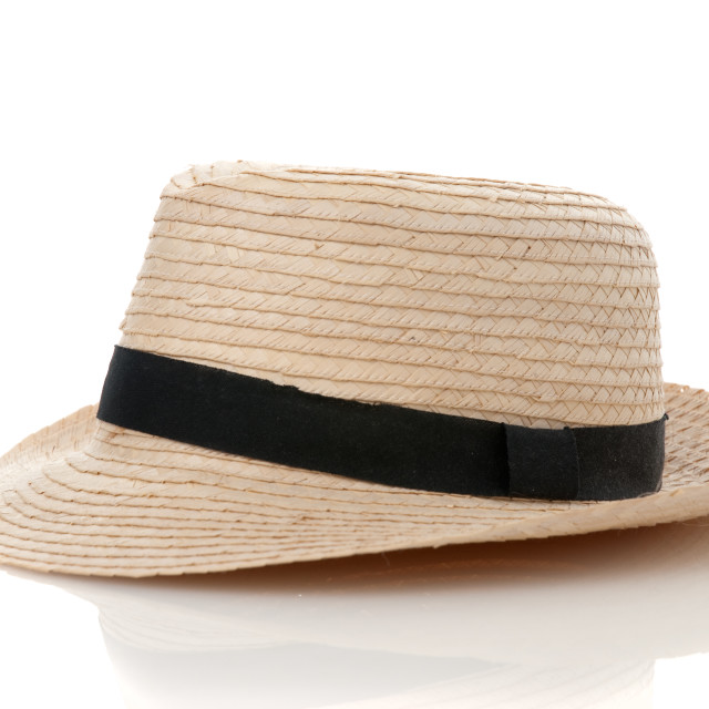 """Straw hat withe black ribbon"" stock image"